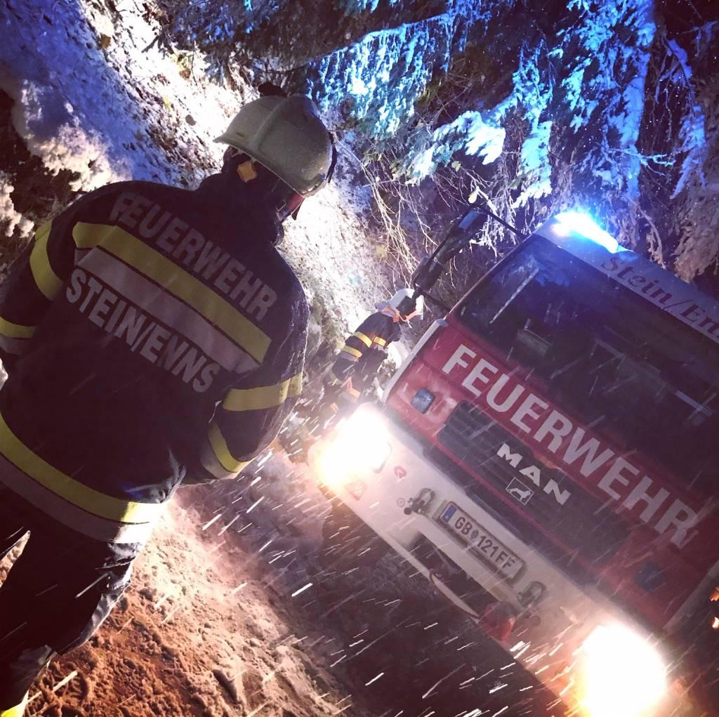 Erster Schneeeinsatz für die FF Stein/Enns